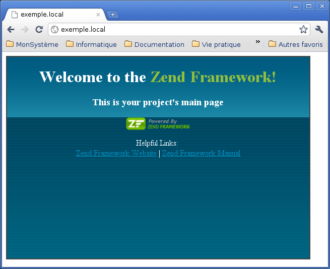 Exemple page Zend